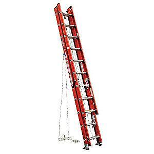 Werner 28 ft. Fiberglass Extension Ladder, 300 lb. Load Capacity, 74.5 lb. Net Weight