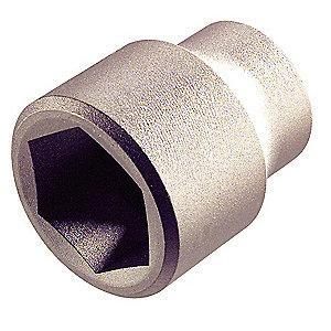"AMPCO 17mm Aluminum Bronze Socket with 3/8"" Drive Size and Natural Finish"