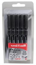 uni-ball Pin Fine Line Drawing Pens - Pack of 5 Assorted Sizes (0.1mm to 0.8mm)