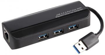 Pro Signal 3 Port USB 3.0 Hub with Gigabit Ethernet Adapter - Bus Powered
