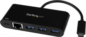 StarTech USB-C to 3 Port USB 3.0 Hub with Gigabit Ethernet & Power Delivery