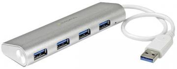 StarTech 4 Port Portable USB 3.0 Hub, Aluminium - Bus Powered