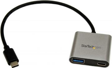 StarTech 2 Port USB-C Hub with Power Delivery, USB-A & USB-C