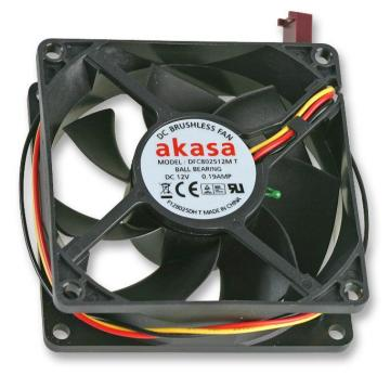 Akasa 12V DC 3 Pin Computer Case Auto Thermal Fan - 80 x 80 x 25mm