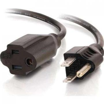 C2G 1ft 18 AWG Outlet Saver Power Extension Cord (NEMA 5-15P to NEMA 5-15R)