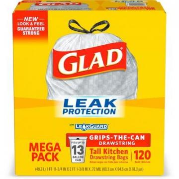 Clorox Glad 78564 Tall Kitchen Drawstring Trash Bags