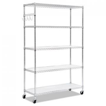 Alera SW654818SR 5-Shelf Wire Shelving Kit with Casters & Shelf Liners
