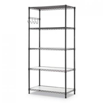 Alera SW653618BA 5-Shelf Wire Shelving Kit with Casters & Shelf Liners