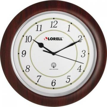 "Lorell 60986 13-1/4"" Round Wood Wall Clock"