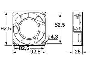 Panasonic AC axial fan, 230 V, 92 mm, 92 mm ASEN 90216