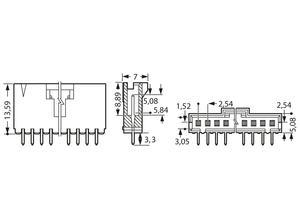 TE Connectivity Male header, 2.54 mm, 3 A, 105 °C