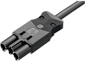 Adels-Contact Connection cable, 1 m, black, Power plug, 3-pin