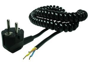 Plastro Power cord in spiral version, Europe, 0.5 m, black