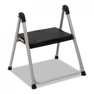 "COSCO Folding Step Stool, 1-Step, 200lb, 9 9/10"" Working Height, Platinum/Black (11014PBL1E)"
