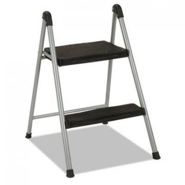"COSCO Folding Step Stool, 2-Step, 200lb, 16 9/10"" Working Height, Platinum/Black (11024PBL1E)"