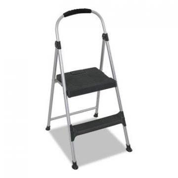 "COSCO Aluminum Step Stool, 2-Step, 225lb, 18 9/10"" Working Height, Platinum/Black (11311ABL1E)"