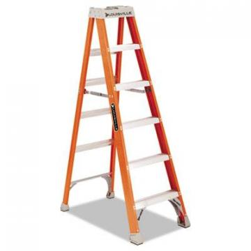 Louisville FS1500 Series Fiberglass Step Ladder FS1506, 300 lbs Capacity, 5 Step, Red