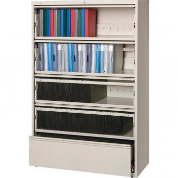 Lorell Receding Lateral File with Roll Out Shelves - 5-Drawer 43516