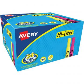 Avery Hi-Liter Desk-Style Highlighters - SmearSafe 98189