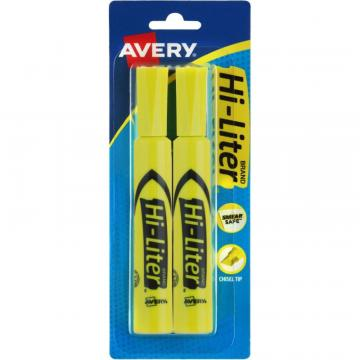 Avery Hi-Liter Desk-Style Highlighters - SmearSafe 24081