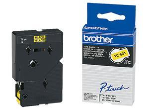 Brother Labelling tape cartridge, 12 mm, tape yellow, font black, 7.7 m