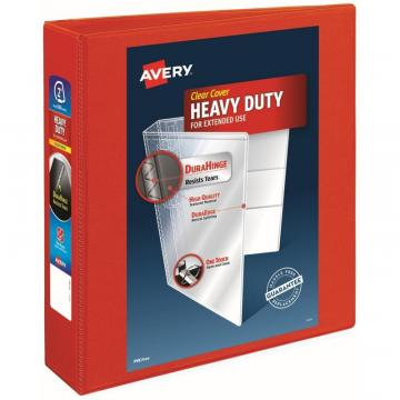 "Avery Heavy-Duty View 3 Ring Binder, 2"" One Touch EZD Rings, Red 79225"