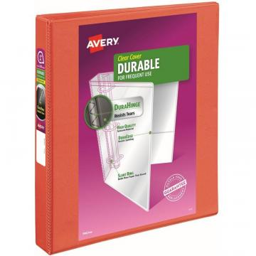 "Avery Durable View 3 Ring Binder, 1"" Slant Rings, 1 Orange Binder"
